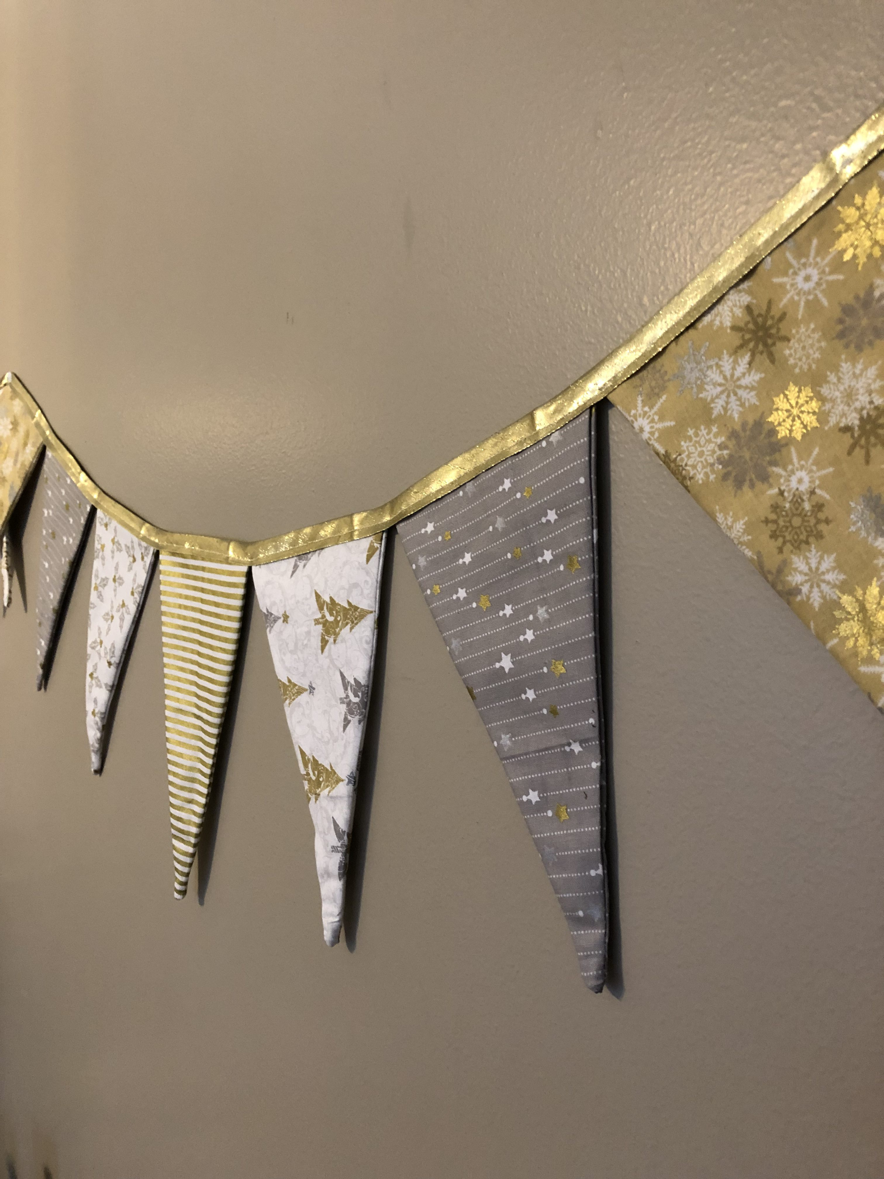 The Most Darling Christmas Triangle Fabric Banner